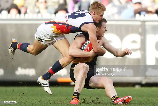 Jack Riewoldt of the Tigers gets tackled high by David Mackay of the Crows during the round 12 AFL match between the Richmond Tigers and the Adelaide...