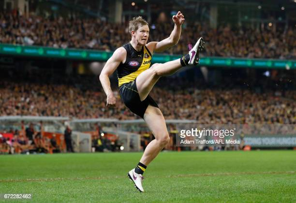 Jack Riewoldt of the Tigers kicks a goal to put the Tigers in front late in the last quarter during the 2017 AFL round 05 match between the Richmond...