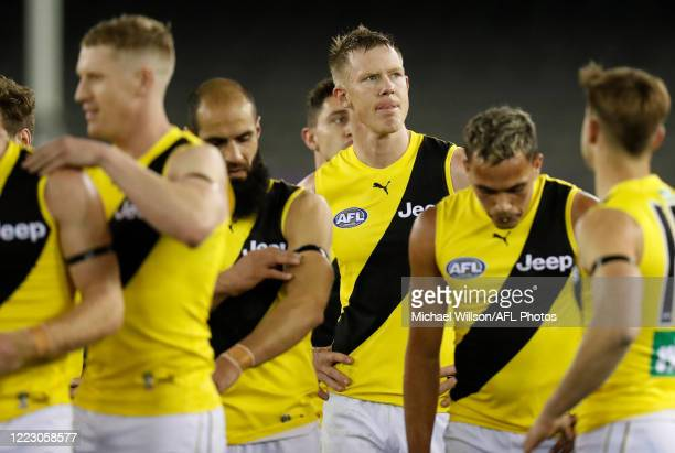 Jack Riewoldt of the Tigers looks dejected after a loss during the 2020 AFL Round 04 match between the St Kilda Saints and the Richmond Tigers at...