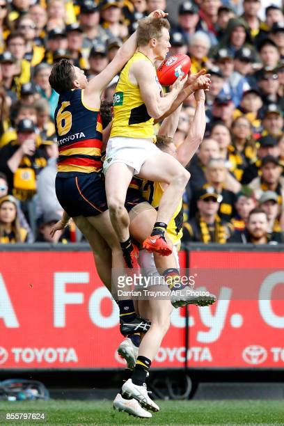 Jack Riewoldt of the Tigers marks the ball during the 2017 AFL Grand Final match between the Adelaide Crows and the Richmond Tigers at Melbourne...
