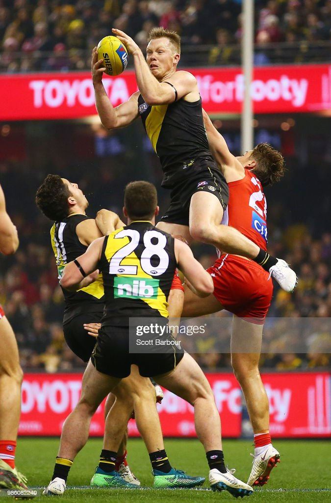 Jack Riewoldt of the Tigers marks the ball during the round 15 AFL match between the Richmond Tigers and the Sydney Swans at Etihad Stadium on June 28, 2018 in Melbourne, Australia.