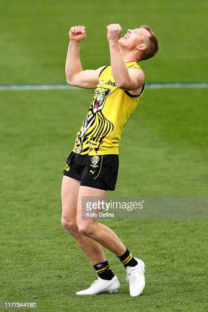 Jack Riewoldt of the Tigers reacts during a Richmond Tigers AFL training session at Punt Road Oval on September 27, 2019 in Melbourne, Australia.