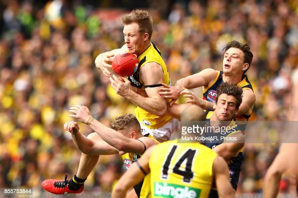 Jack Riewoldt of the Tigers takes a mark during the 2017 AFL Grand Final match between the Adelaide Crows and the Richmond Tigers at Melbourne...