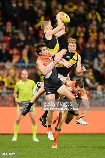 Jack Riewoldt of the Tigers takes a mark during the round 17 AFL match between the Greater Western Sydney Giants and the Richmond Tigers at Spotless...