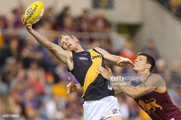 Jack Riewoldt of the Tigers takes a mark during the round three AFL match between the Brisbane Lions and the Richmond Tigers at The Gabba on April...