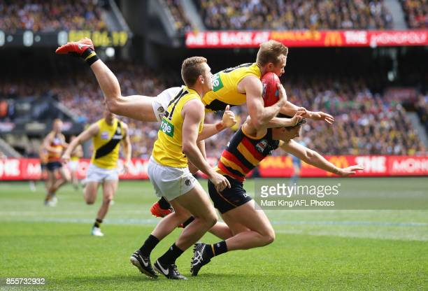 Jack Riewoldt of the Tigers takes a mark over Jake Lever of the Crows during the 2017 AFL Grand Final match between the Adelaide Crows and the...