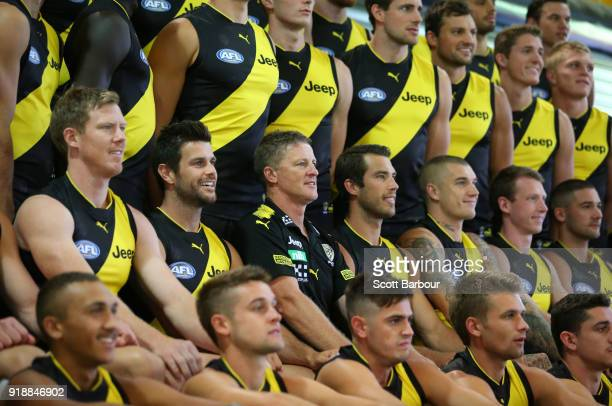 Jack Riewoldt of the Tigers Trent Cotchin of the Tigers Damien Hardwick coach of the Tigers Alex Rance of the Tigers Dustin Martin of the Tigers and...