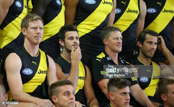 Jack Riewoldt of the Tigers Trent Cotchin of the Tigers Damien Hardwick coach of the Tigers and Alex Rance of the Tigers look on during a Richmond...