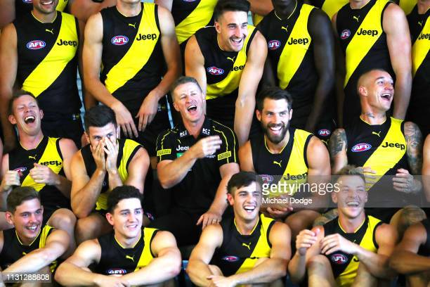 Jack Riewoldt Trent Cotchin Tigers head coach Damien Hardwick Alex Rance Dustin Martin and Dylan Grimes of the Tigers react during the AFL Richmond...