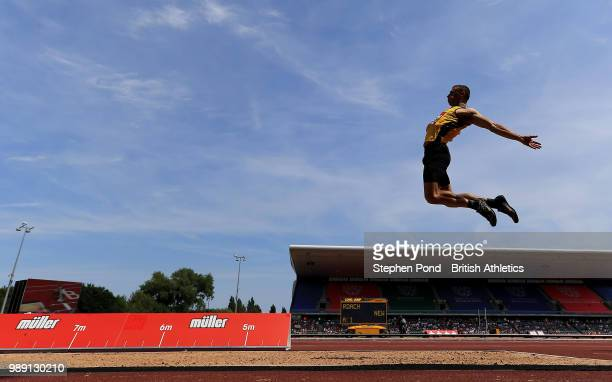 Jack Roach of Great Britain in the Men's Long Jump Final during Day Two of the Muller British Athletics Championships at the Alexander Stadium on...