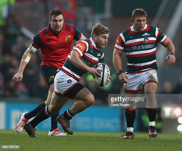 Jack Roberts of Leicester breaks with the ball during the European Rugby Champions Cup match between Leicester Tigers and Munster at Welford Road on...