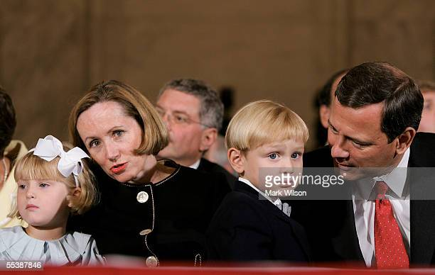 Jack Roberts son of US Supreme Court Chief Justice nominee John Roberts and his wife Jane their daughter Josie wait for the start of the first day of...