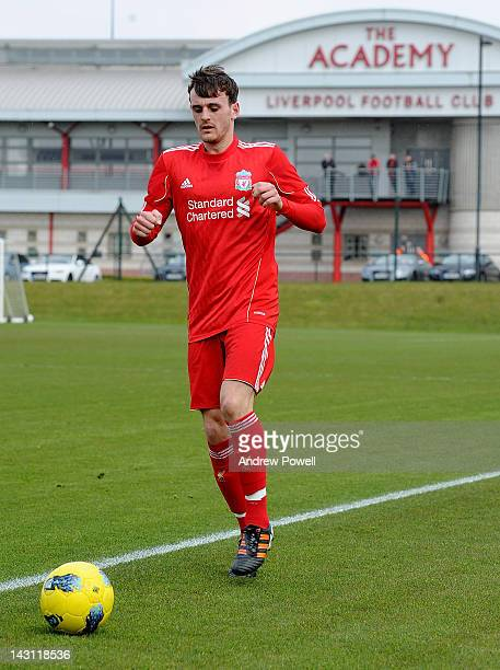 Jack Robinson of Liverpool during the Barclays Premier Reserve League between Liverpool Academy and Manchester United Academy on April 19, 2012 in...