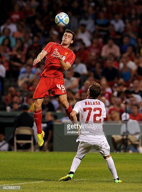 Jack Robinson of Liverpool in action during the preseason friendly match between Liverpool FC and AS Roma at Fenway Park on July 23 2014 in Boston...