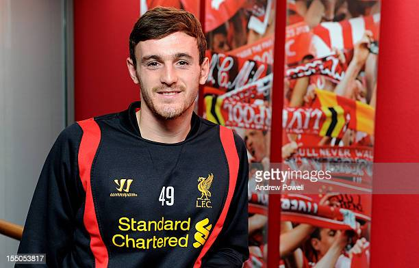 Jack Robinson of Liverpool poses for photographs at Melwood on October 17, 2012 in Liverpool, England.