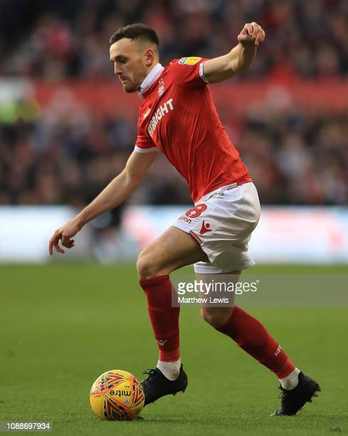 Jack Robinson of Nottingham Forest in action during the Sky Bet Championship match between Nottingham Forest and Leeds United at City Ground on...