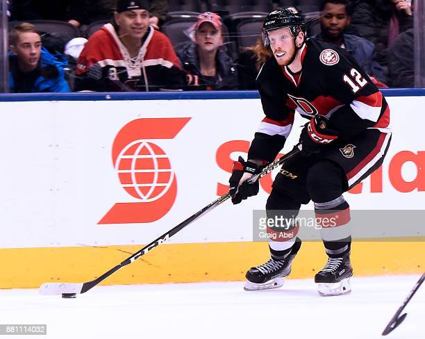 Jack Rodewald Belleville Senators controls the puck against the Toronto Marlies during AHL game action on November 25 2017 at Air Canada Centre in...
