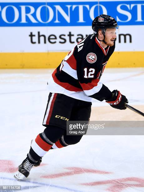 Jack Rodewald of the Belleville Senators skates in warmup prior to a game against the Toronto Marlies on November 25 2017 at Air Canada Centre in...