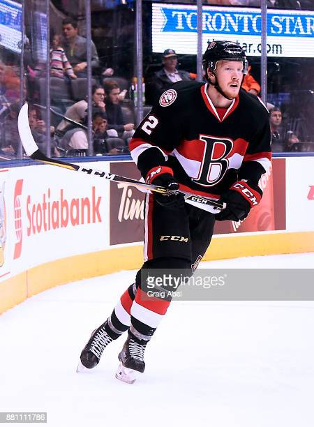 Jack Rodewald of the Belleville Senators turns up ice against the Toronto Marlies during AHL game action on November 25 2017 at Air Canada Centre in...