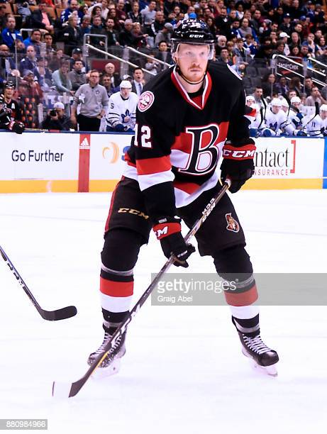 Jack Rodewald of the Belleville Senators watches the play develop against the Toronto Marlies during AHL game action on November 25 2017 at Air...