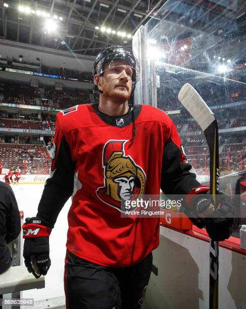 Jack Rodewald of the Ottawa Senators leaves the ice after warmup prior to a game against the Philadelphia Flyers at Canadian Tire Centre on October...