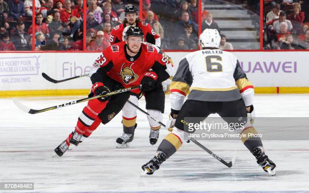 Jack Rodewald of the Ottawa Senators skates against Colin Miller of the Vegas Golden Knights at Canadian Tire Centre on November 4 2017 in Ottawa...