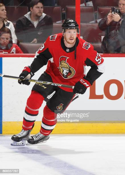 Jack Rodewald of the Ottawa Senators skates during warmup prior to a game against the Montreal Canadiens at Canadian Tire Centre on October 30 2017...