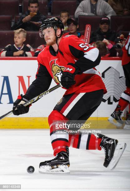 Jack Rodewald of the Ottawa Senators skates during warmups prior to a game against the Montreal Canadiens at Canadian Tire Centre on October 30 2017...