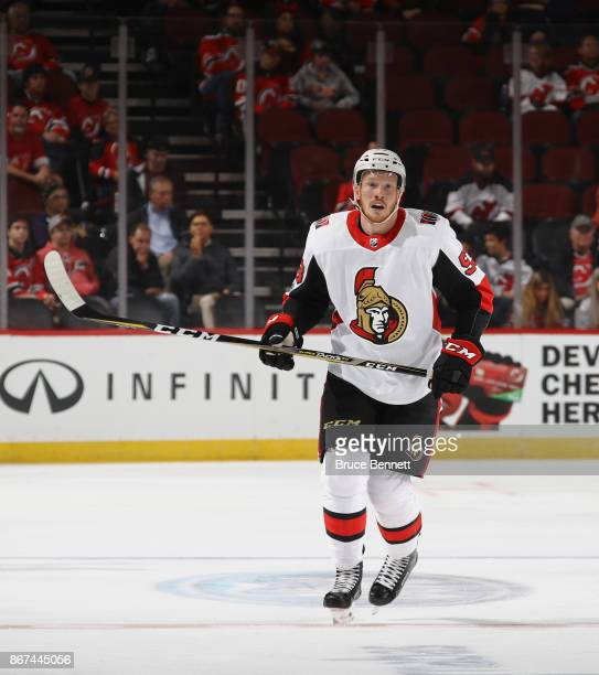 Jack Rodewald of the Ottawa Senators skates in his first NHL game against the New Jersey Devils at the Prudential Center on October 27 2017 in Newark...