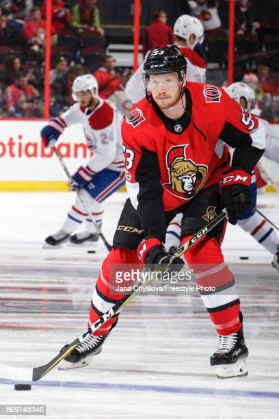 Jack Rodewald of the Ottawa Senators skates with the puck during warmups prior to a game against the Montreal Canadiens at Canadian Tire Centre on...