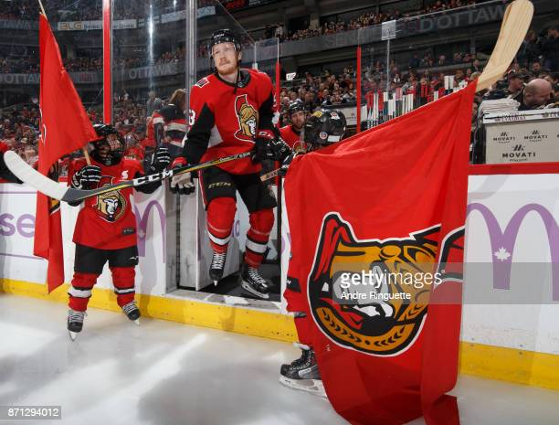 Jack Rodewald of the Ottawa Senators steps onto the ice during player introductions prior to a game against the Vegas Golden Knights at Canadian Tire...