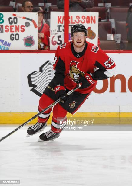 Jack Rodewald of the Ottawa Senators warms up prior to a game against the Philadelphia Flyers at Canadian Tire Centre on October 26 2017 in Ottawa...