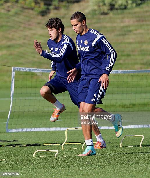 Jack Rodwell in action during a Sunderland AFC Training Session at The Academy of Light on October 02 2014 in Sunderland England