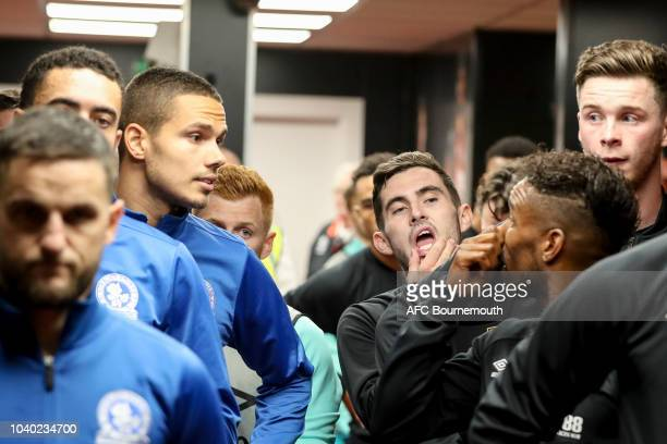 Jack Rodwell of Blackburn Rovers with Jermain Defoe and Lewis Cook of Bournemouth in the tunnel before the Carabao Cup Third Round match between AFC...