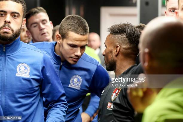 Jack Rodwell of Blackburn Rovers with Jermain Defoe of Bournemouth in the tunnel before the Carabao Cup Third Round match between AFC Bournemouth and...