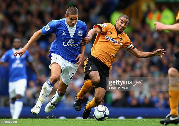 Jack Rodwell of Everton in action with Karl Henry of Wolverhampton Wanderers during the Barclays Premier League match between Everton and...