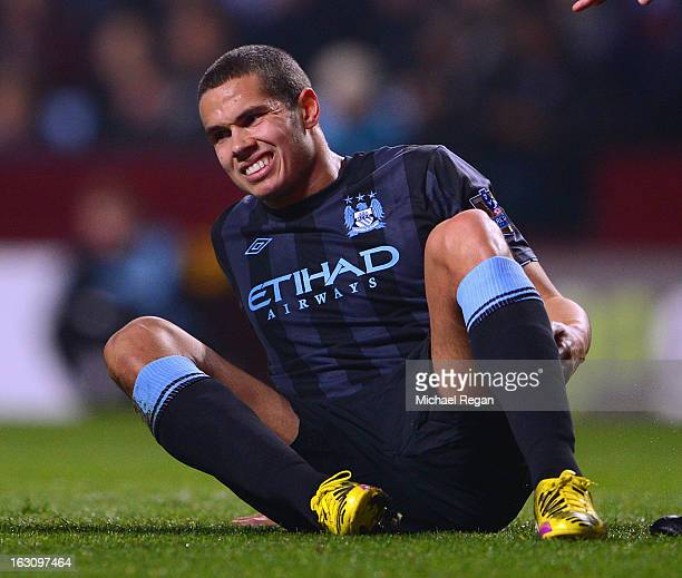 Jack Rodwell of Manchester City lays injured before being substituted during the Barclays Premiership match between Aston Villa and Manchester City...