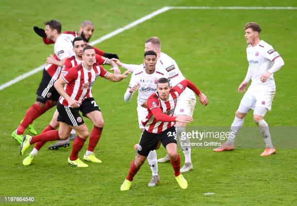 Jack Rodwell of Sheffield United in action as a corner is taken during the FA Cup Third Round match between Sheffield United and AFC Flyde at Bramall...