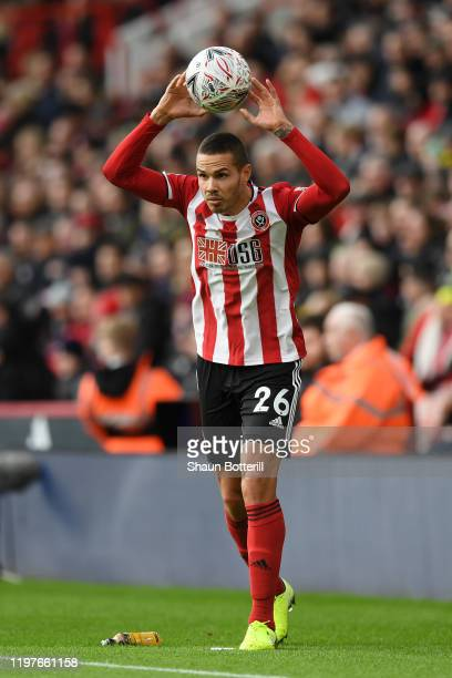Jack Rodwell of Sheffield United takes a throw in during the FA Cup Third Round match between Sheffield United and AFC Fylde at Bramall Lane on...