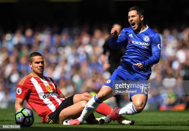 Jack Rodwell of Sunderland fouls Eden Hazard of Chelsea during the Premier League match between Chelsea and Sunderland at Stamford Bridge on May 21,...