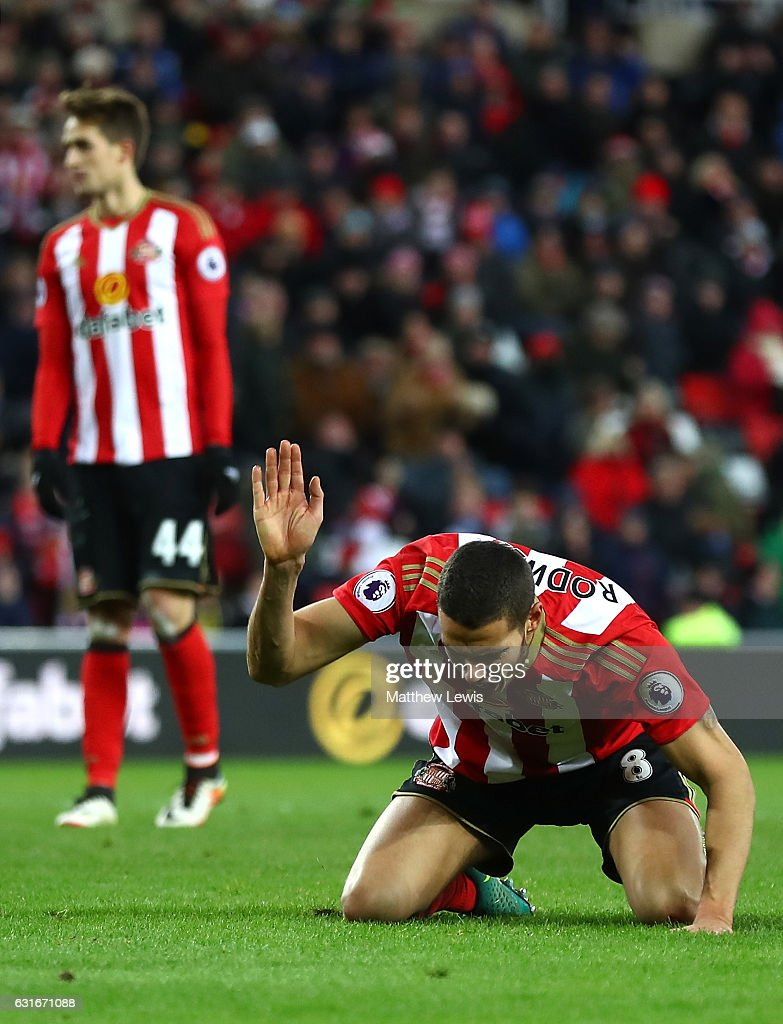Jack Rodwell of Sunderland reacts during the Premier League match between Sunderland and Stoke City at Stadium of Light on January 14, 2017 in Sunderland, England.