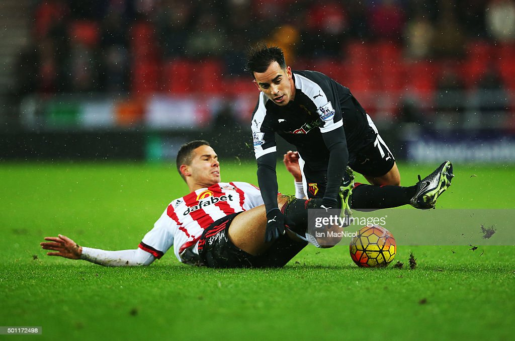 Jack Rodwell of Sunderland vies with Jose Manuel Jurado of Watford during the Barclays Premier League match between Sunderland and Watford at The Stadium of Light on December 12, 2015 in Sunderland, England.