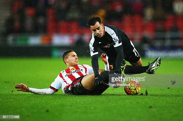 Jack Rodwell of Sunderland vies with Jose Manuel Jurado of Watford during the Barclays Premier League match between Sunderland and Watford at The...