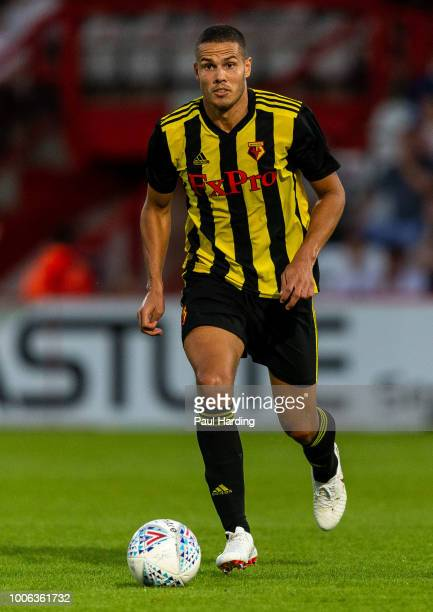 Jack Rodwell of Watford FC drives the ball during the pre-season friendly match between Stevenage and Watford at The Lamex Stadium on July 27, 2018...