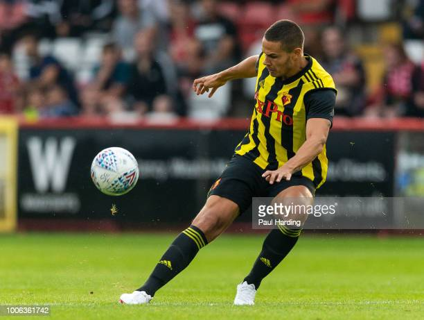 Jack Rodwell of Watford FC kicks the ball during the pre-season friendly match between Stevenage and Watford at The Lamex Stadium on July 27, 2018 in...
