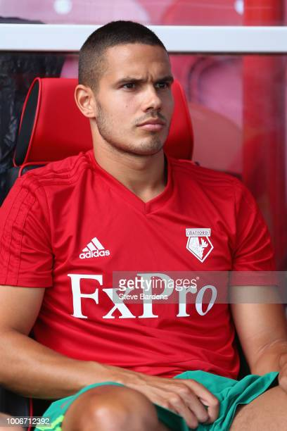 Jack Rodwell of Watford on the substitutes bench prior to the pre-season match between Brentford and Watford at Griffin Park on July 28, 2018 in...