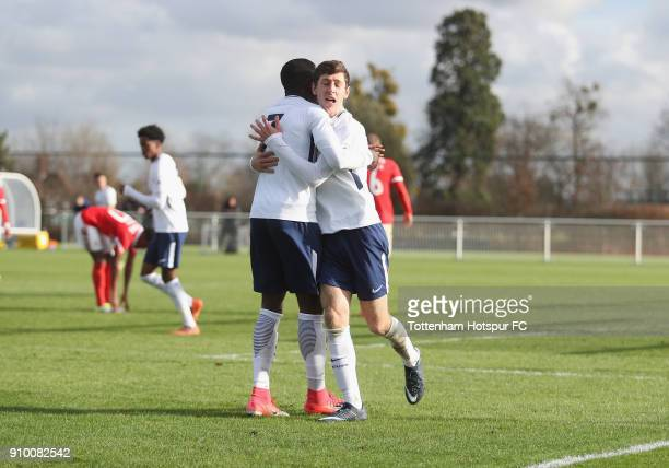 Jack Roles of Spurs celebrates scoring their second goal during the Premier League International Cup match between Tottenham Hotspur U23 and SL...
