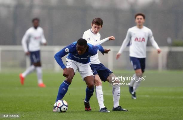 Jack Roles of Tottenham Hotspur and Dennis Adeniran of Everton during the Premier League 2 match between Tottenham Hotspur and Everton on January 15...