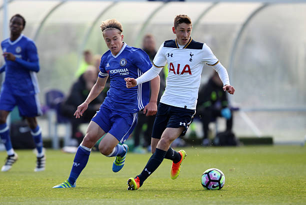 Jack Roles of Tottenham Hotspur and Luke McCormick of Chelsea in action during Under 18 Premier League match between Tottenham Hotspur U18 and...