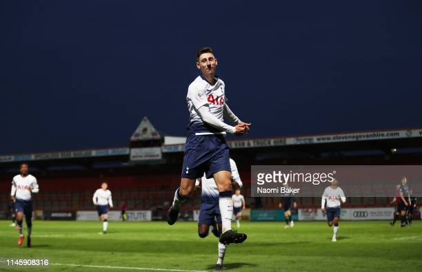 Jack Roles of Tottenham Hotspur celebrates after he scores his sides third goal and scoring a hatrick during the Premier League 2 match between...